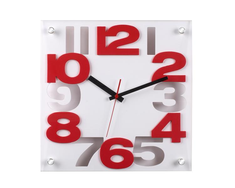 Reloj de pared cuarzo de cristal blanco 30cm relojesdeco - Relojes modernos de pared ...
