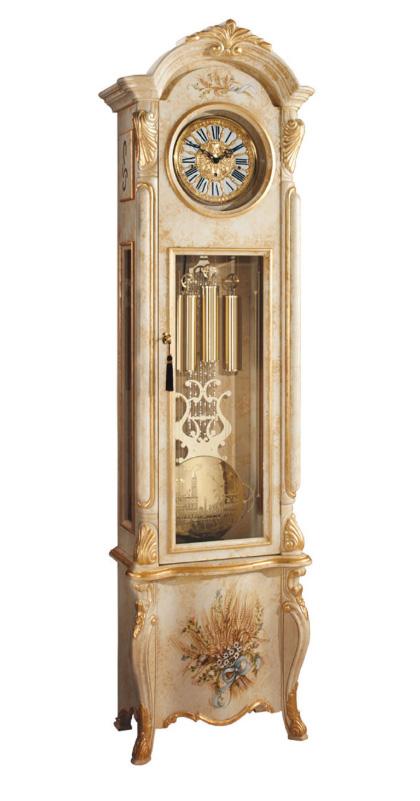 Reloj de pie, Reloj de antesala reloj GALLO ST. GERMAIN impresionante,  pintado a mano, detalles oro 24kt, reloj de pie mecánico 8 dias, 3 melodias  217cm - RelojesDECO